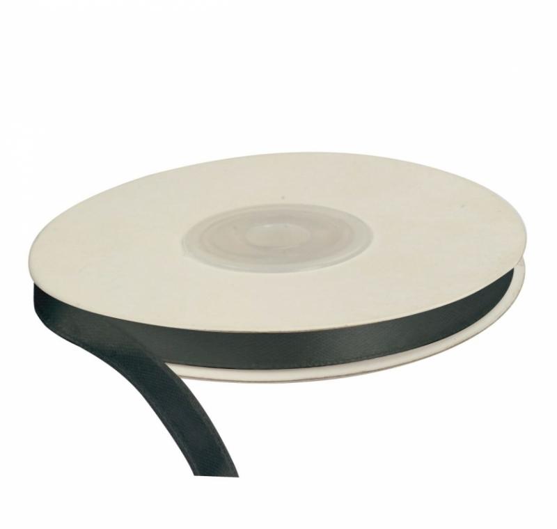 Wstążka satynowa dekoracyjna czarna 6mm/25m
