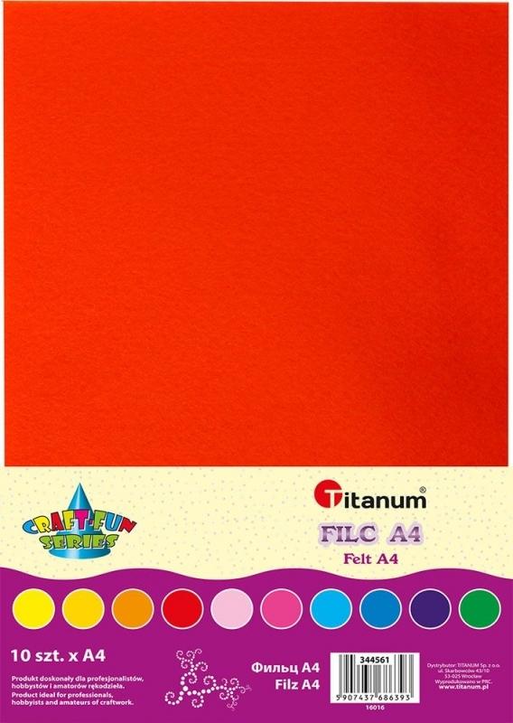 Filc dekoracyjny mix kolor A4 10 arkuszy 2mm