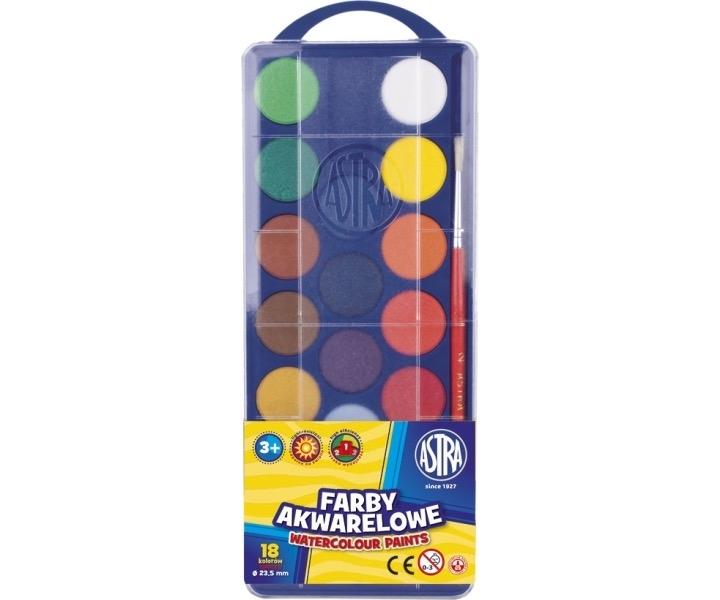 Farby akwarelowe 18 kolorów śr. 23,5 mm Astra