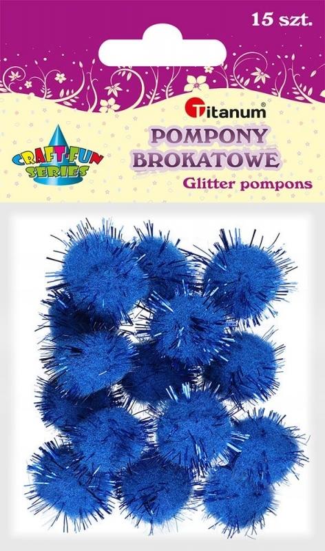 Pompony akrylowe brokatowe c.nebieskie 1,8cm A`15