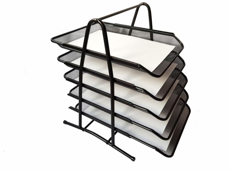 Półka na dokumenty metalowa czarna 5A TRES