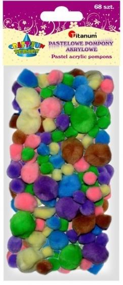 Pompony akryl. A`68  mix kolor pastelowe 1/1,5/2/2,5