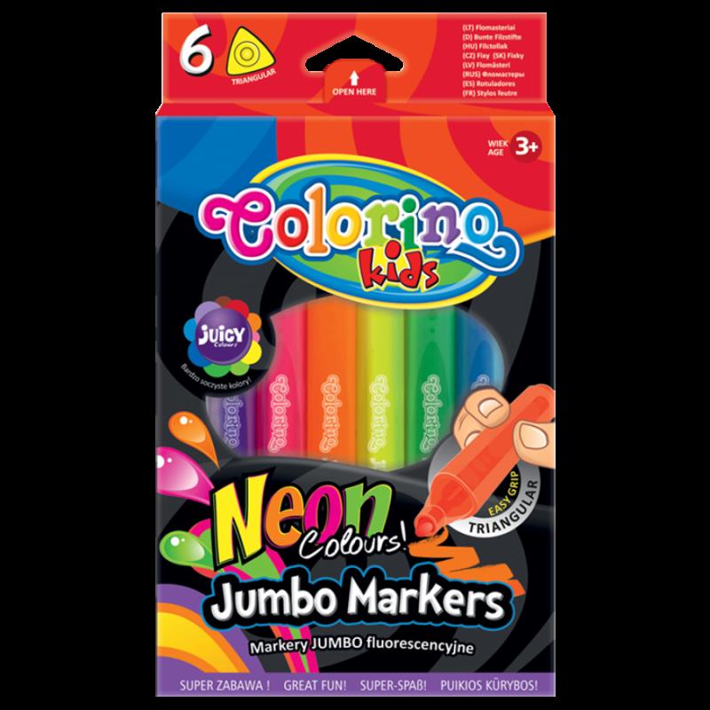 Flamastr trójkątny Jumbo 6 kolorów neon Colorino