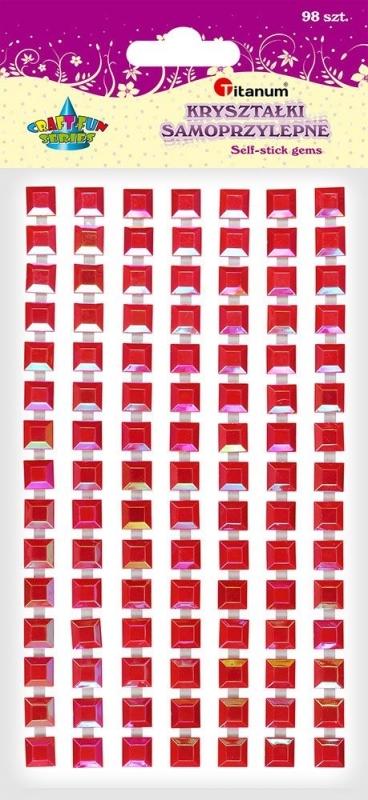 Kryształki samoprzylepne kwadrat czerwone 7mm A`98