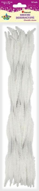 Druciki kreatywne fala 0,6 x 30cm A`15 białe