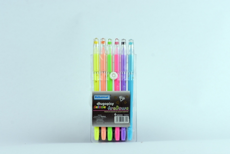 Długopisy żelowe kredowe z diamentem 6 kolorów