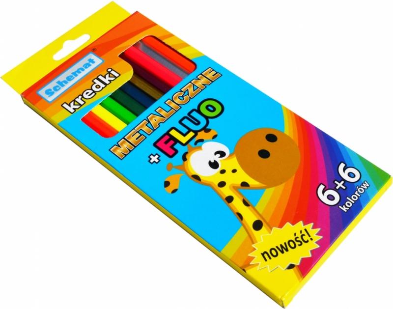 Kredki ołówkowe 12 kolorów metaliczne plus fluo Schemat