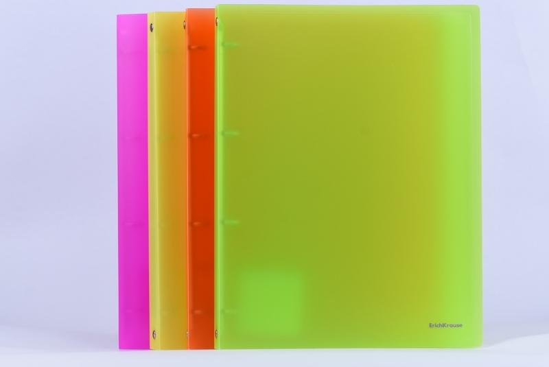 Segregator PP A4/24mm 4 ringi neon żółty