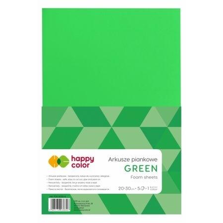 Arkusz piankowy zielony A4 op.5ark.Happy Color