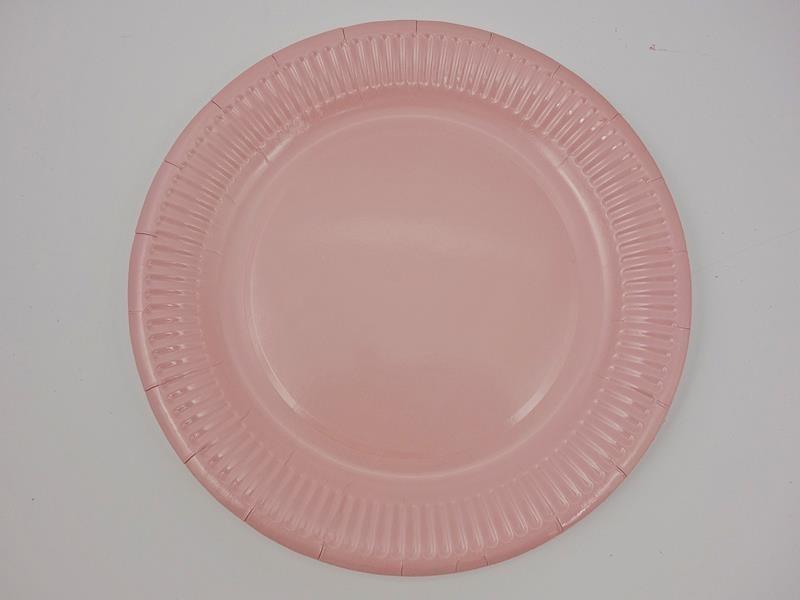 Talerz papierowy kolor różowy 23cm  A`10
