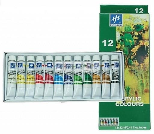 Farby akrylowe 12 kolorów 12 ml