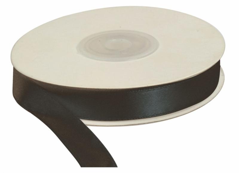 Wstążka satynowa dekoracyjna czarna 12mm/25m