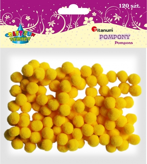 Pompony akrylowe kreatywne żółty 10mm 120szt.