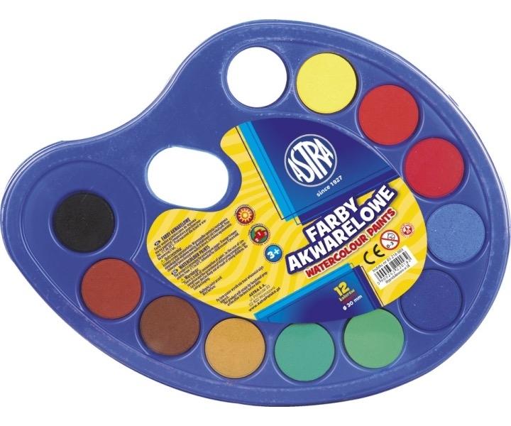 Farby akwarelowe 12 kolorów fi 30 Astra paletka