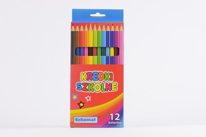 Kredki ołówkowe sześciokątne 12 kolorów Schemat
