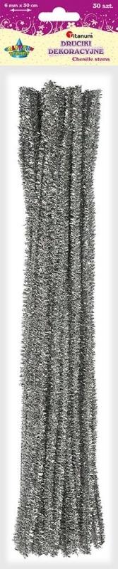 Druciki kreatywne metalizowane srebrne 0,6x30cm A`30