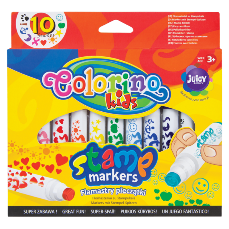 Flamaster ze stempelkami  10 kolorów Colorino