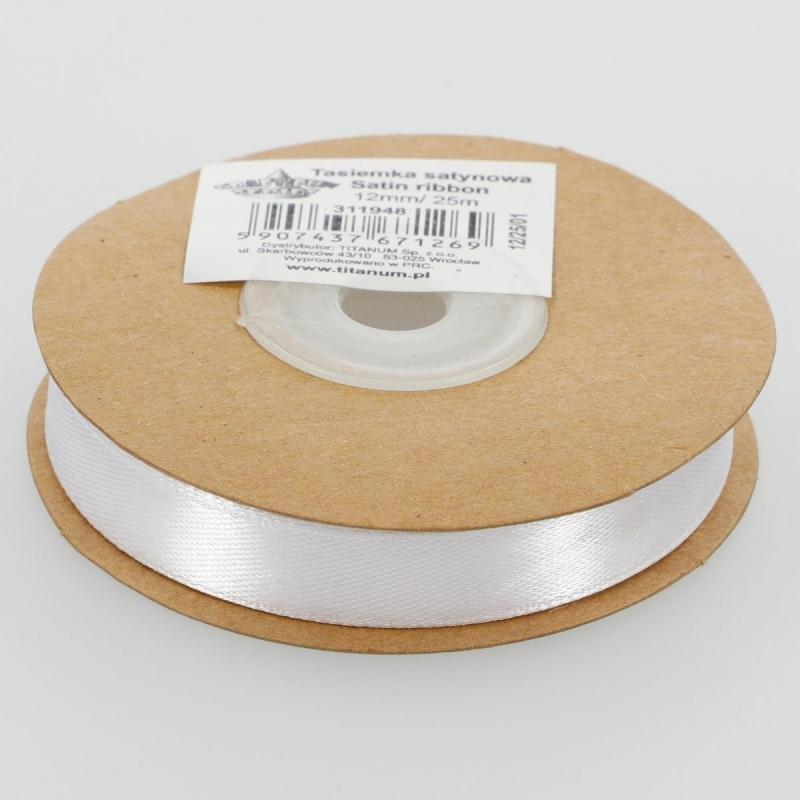 Wstążka satynowa dekoracyjna biała 12mm/25m