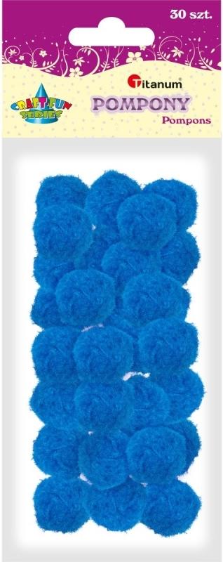 Pompony akrylowe niebieskie 2,5cm A`30