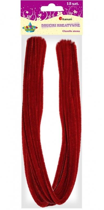 Druciki kreatywne czerwone 0,6x50cm 15szt