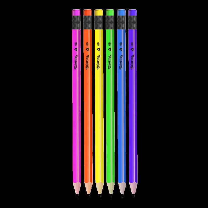Ołówek trójkątny HB z gumką neon Colorino