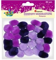 Pompony akrylowe kreatywne fioletowe mix 25mm 30szt.