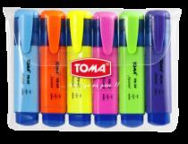 Zakreślacz tekstu zestaw 6 kolorów TOMA TO-34