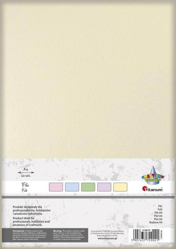 Filc dekoracyjny A4 mix tonacja pastelowa  A`10