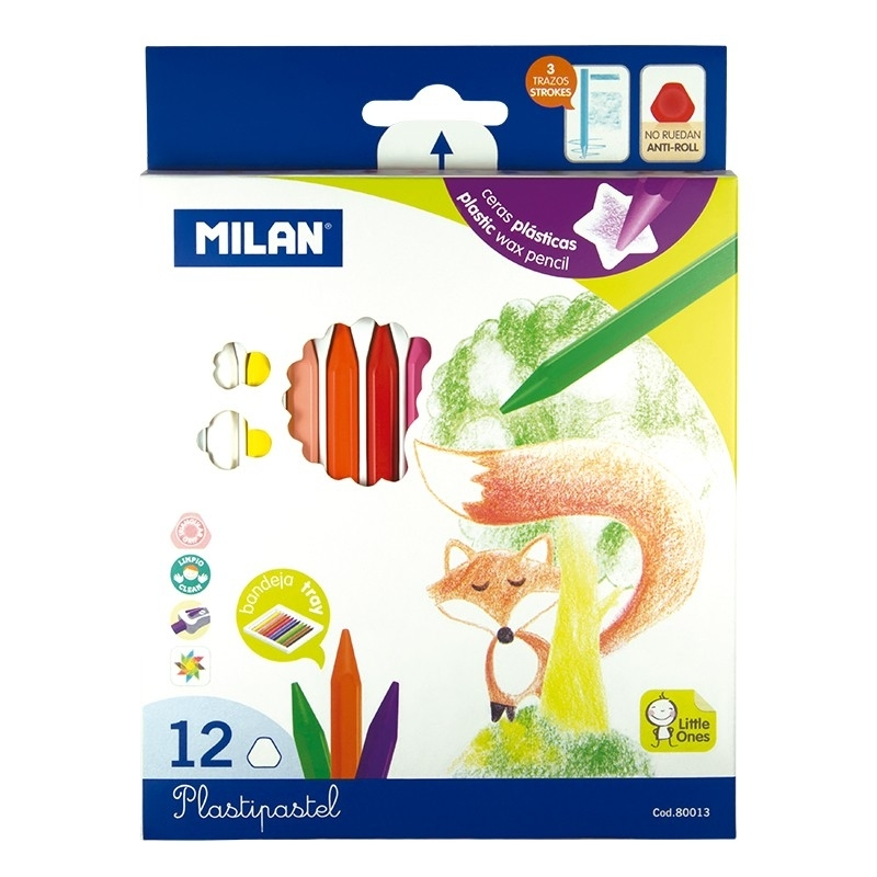 Kredki syntetyczne 12 kol. Plastipastel Milan