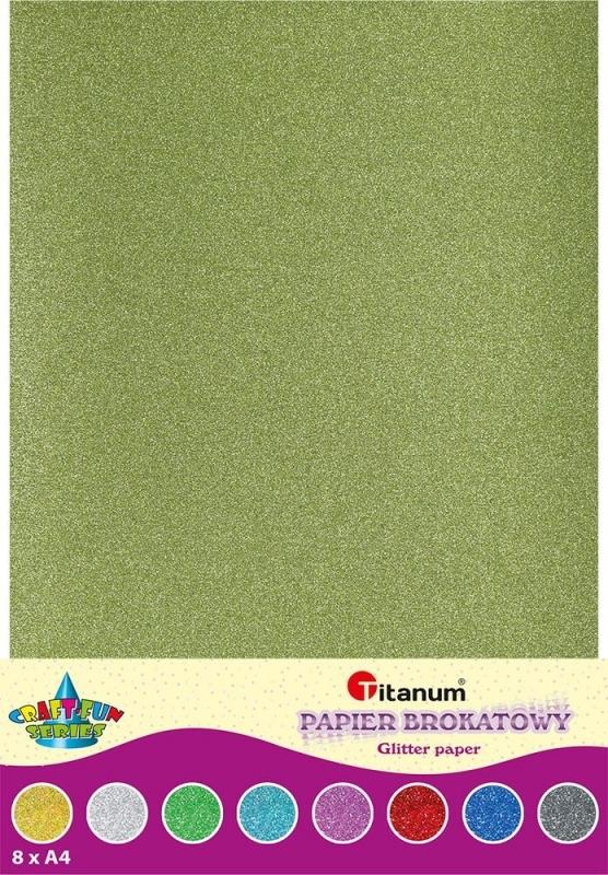 Papier ozdobny brokatowy A4 8 kolorów