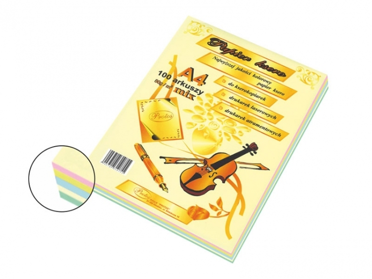 Papier ksero mix pastelowy A4/100 80g
