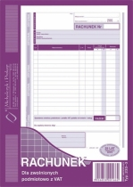 Rachunek A5 dla zwolnionych z VAT