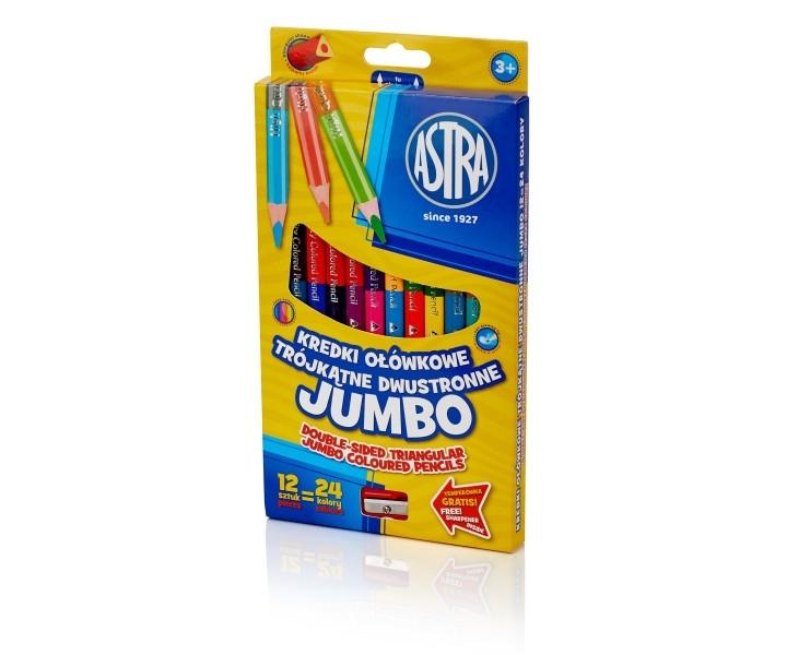 Kredki ołówkowe dwustronne Jumbo 12/24 Astra