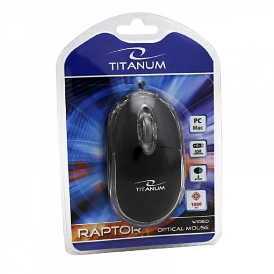 Myszka przewodowa optyczna Titanum RAPTOR 3D USB TM102B Czarna