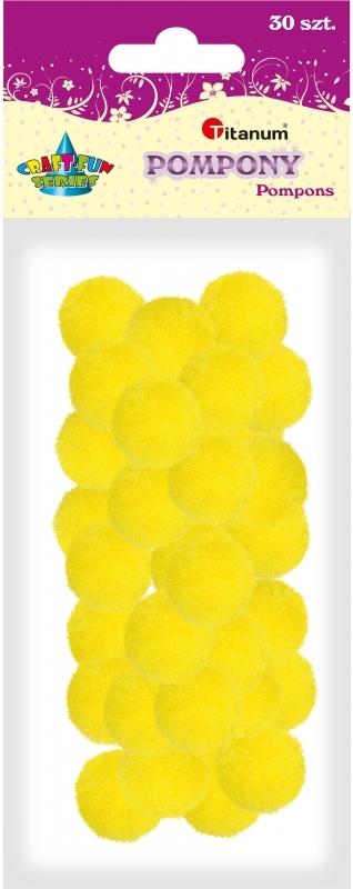 Pompony akrylowe żółte 2,5cm A`30