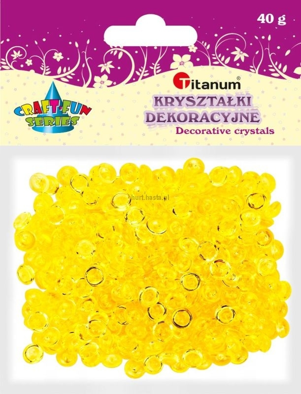 Kryształki ozdobne plastikowe żółte 40g