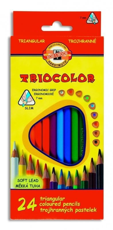Kredki ołówkowe trójkątne 24k.Triocolor Koh-I-Noor