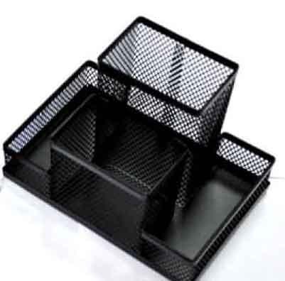 Przybornik na biurko metalowy czterokomorowy czarny