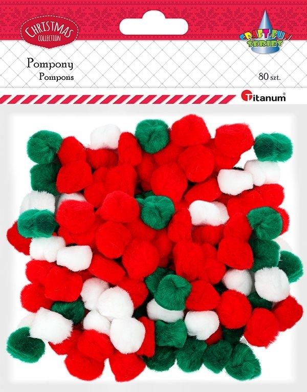 Pompony 25mm A`80 czerwony, biały,zielony