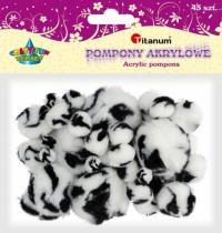 Pompony akrylowe kreatywne biało-czarne animal 1-5cm 45szt