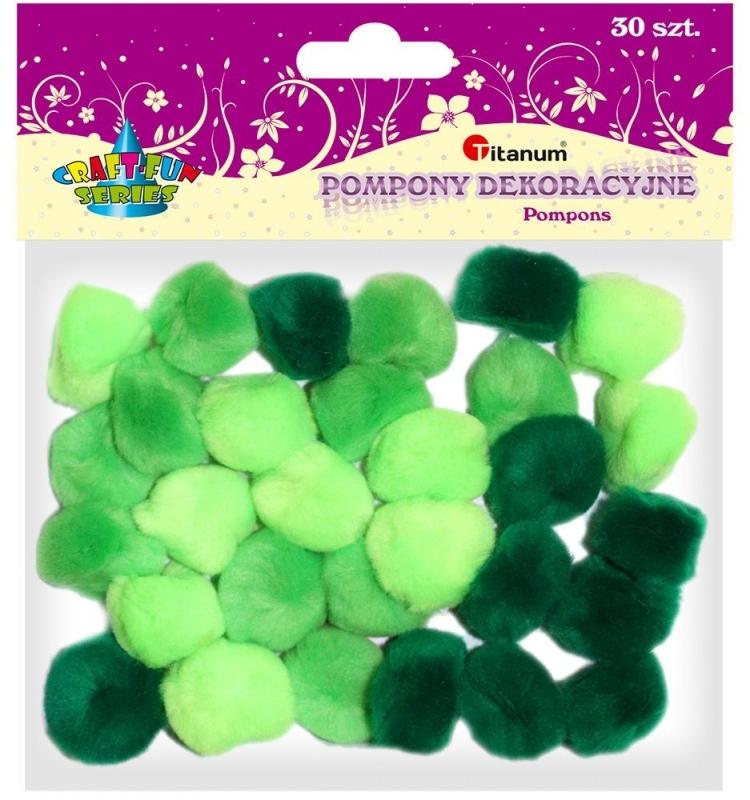 Pompony akrylowe kreatywne zielone mix 25mm 30szt.