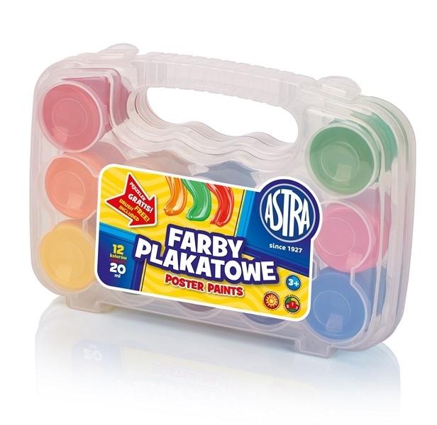 Farba plakatowa 12 kolorów 20 ml  w walizce Astra