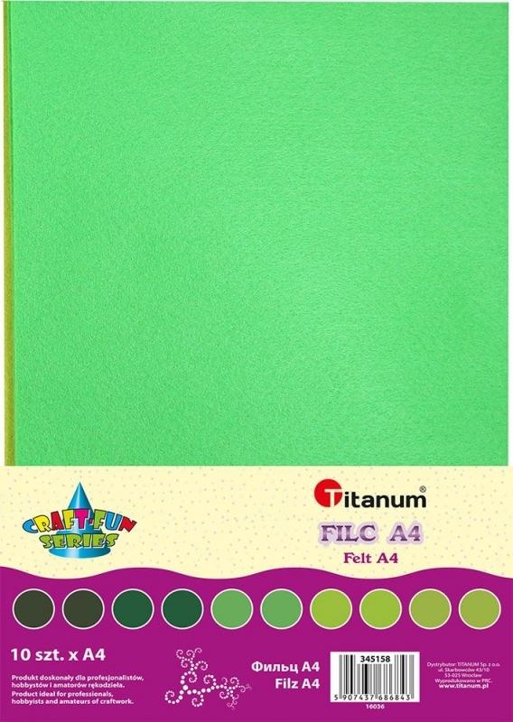 Filc dekoracyjny A4 mix tonacja zielona A`10