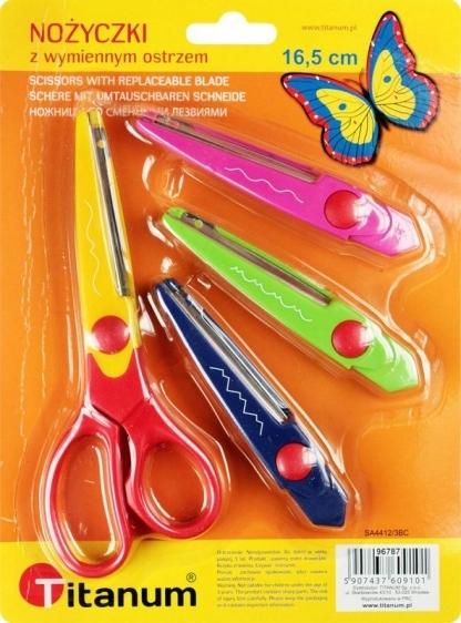 Nożyczki dekoracyjne 16,5cm + 3 ostrza Titanum