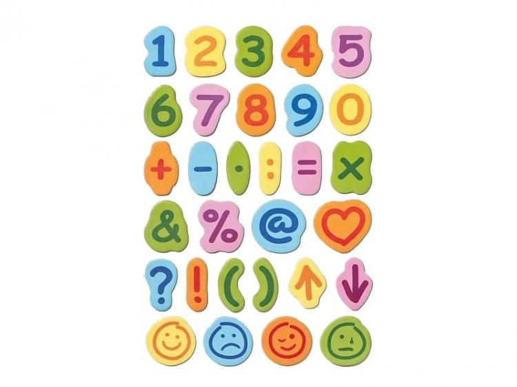 Kolorowe cyferki, znaki samoprzylepne 30*15