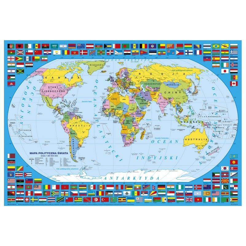 Podkład na biurko twardy oklejany mapa Świata admi