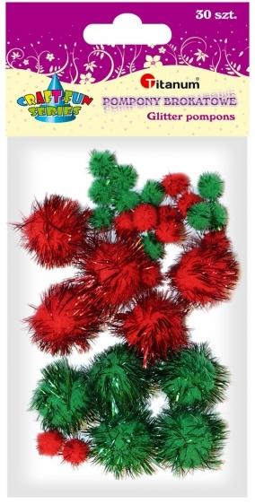 Pompony akrylowe brokatowe kreatywne zielony/czerwony 8-22mm 30szt.