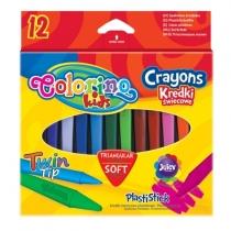 Kredki trójkątne świecowe 12 kolorów Colorino