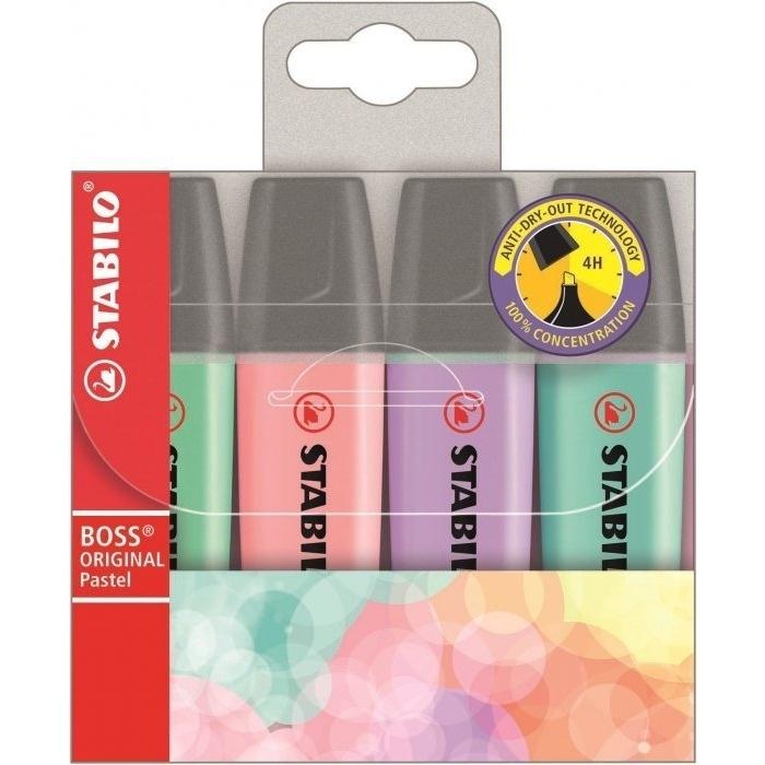 Zakreślacz fluorescencencyjny Stabilo Boss kolory pastelowe 4szt