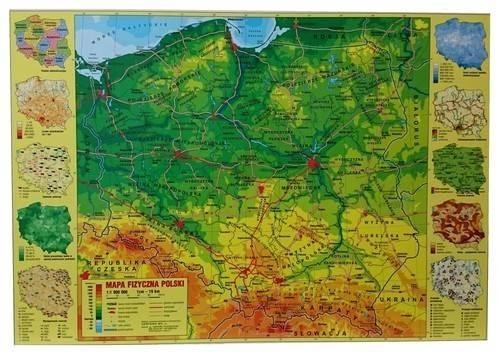 Podkład na biurko twardy oklejany mapa Polski fiz.